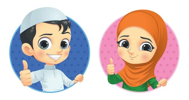 Muslimische kinder zeigen daumen hoch Premium Vektoren