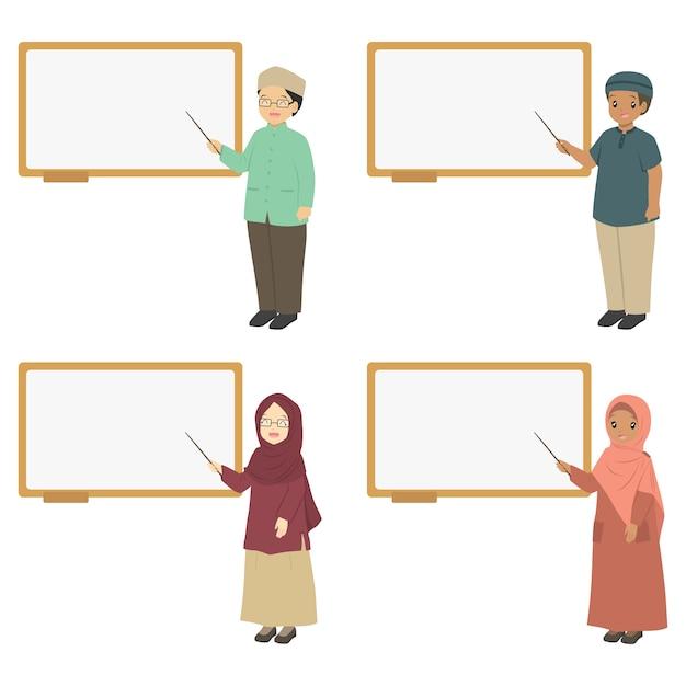 Muslimische lehrer zeigen auf ein whiteboard, vektorsammlung. Premium Vektoren