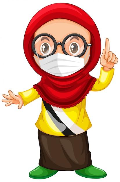 Muslimische mädchenbrille, die maske trägt Kostenlosen Vektoren