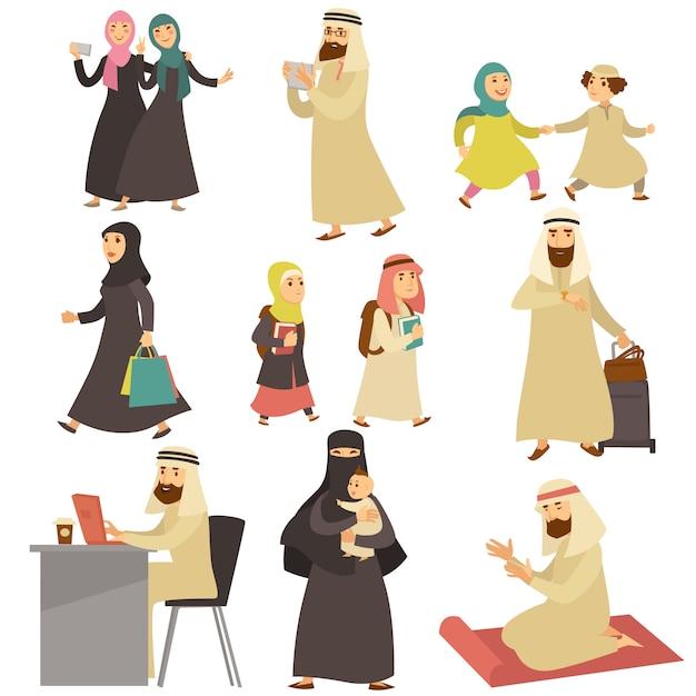 Muslimische männer und frauen im alltag gesetzt Premium Vektoren