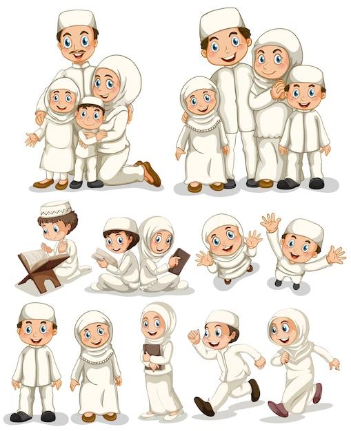 Muslimische Menschen machen Aktivitäten Kostenlose Vektoren