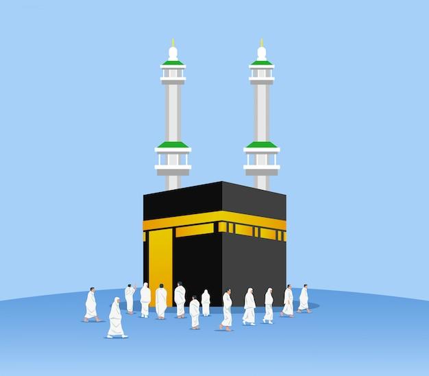 Muslimische pilger um kaaba Premium Vektoren