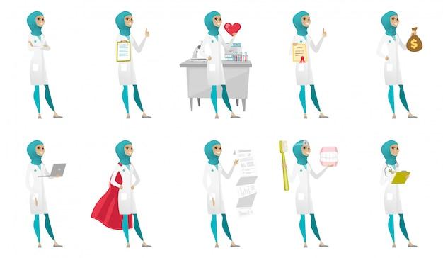 Muslimischer arzt festgelegt Premium Vektoren