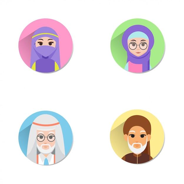 Muslimischer avatar Premium Vektoren
