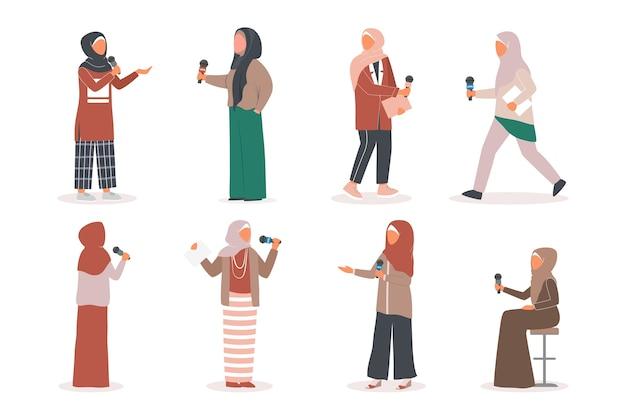 Muslimischer fernsehjournalist oder nachrichtenreporter eingestellt. muslimischer charakter, der in sozialen medien arbeitet. reporter spricht mit mikrofon. Premium Vektoren