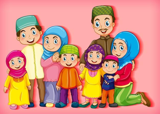 Muslimisches familienmitglied auf zeichentrickfigur Kostenlosen Vektoren