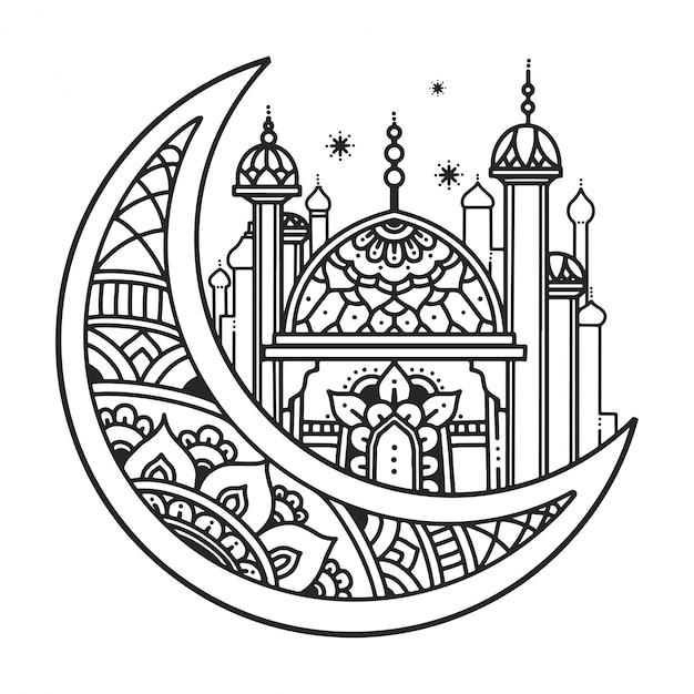 Muslimisches illustrationsdesign Premium Vektoren