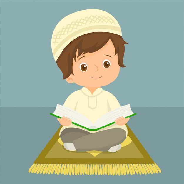 Muslimisches kind liest den koran Premium Vektoren