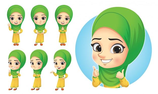Muslimisches kleines mädchen zeichensatz Premium Vektoren