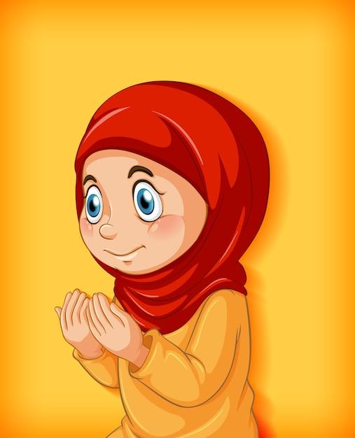 Muslimisches mädchen praktiziert religion Kostenlosen Vektoren
