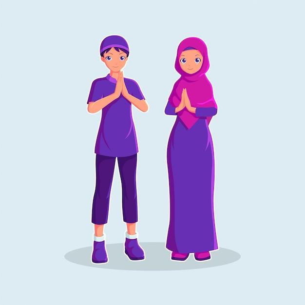 Muslimisches paar in der karikaturartillustration Premium Vektoren