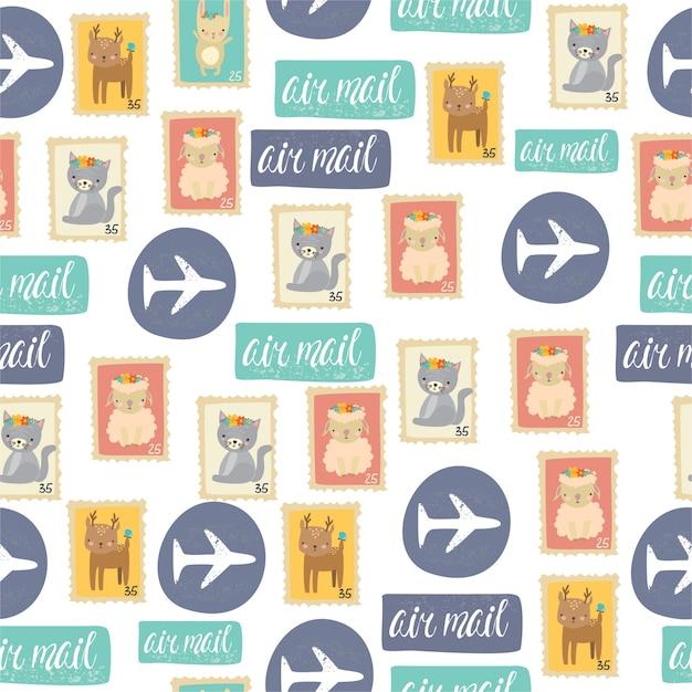 Muster briefmarken | Kostenlose Vektor