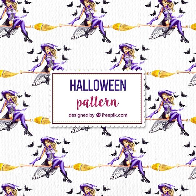 Muster der Aquarell Hexe für Halloween | Download der Premium Vektor