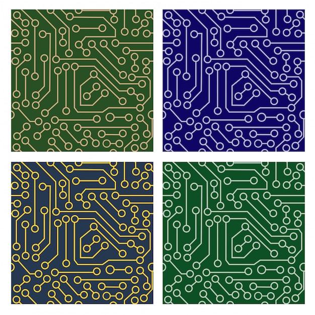 Muster der elektronischen schaltung Premium Vektoren
