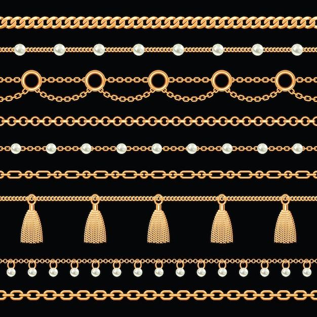 Muster der goldenen metallischen kettenränder mit perlen und quasten Premium Vektoren