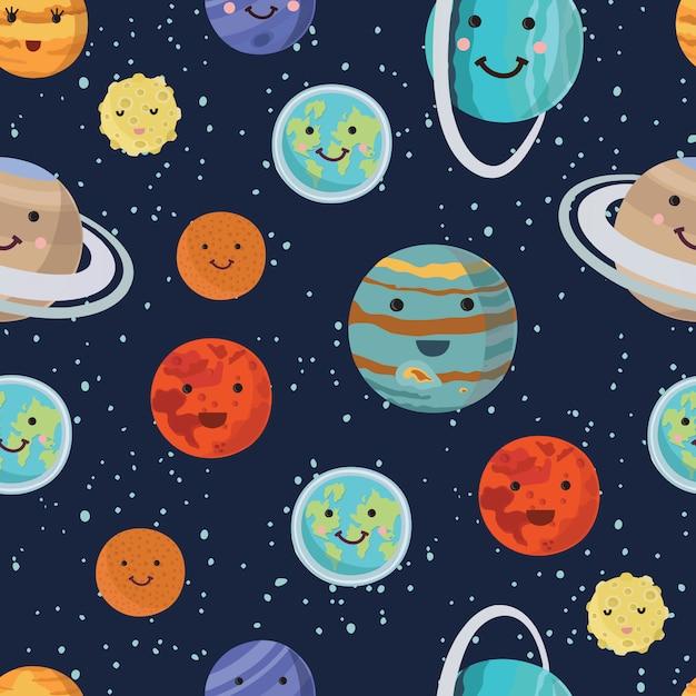 Muster der planeten des sonnensystems. heller schöner lächelnder planet. illustration Premium Vektoren