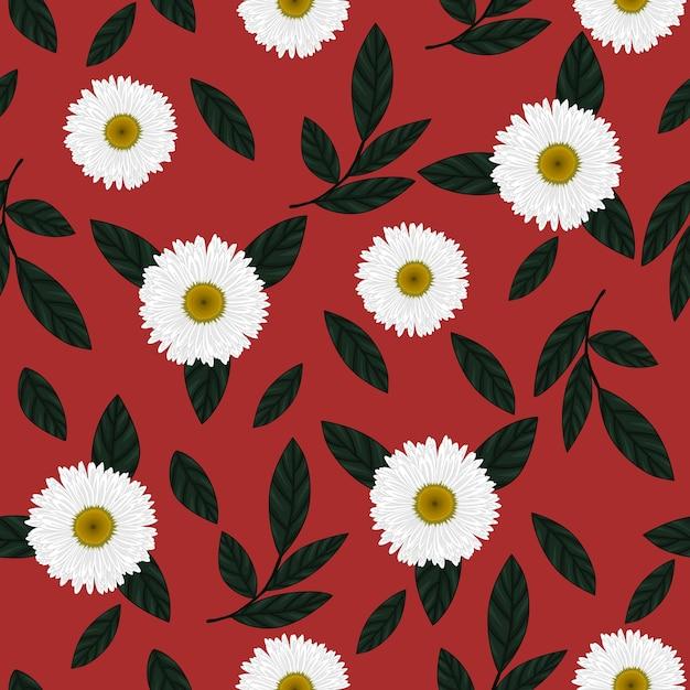 Muster der weißen Blume mit rotem Hintergrund   Download der Premium ...