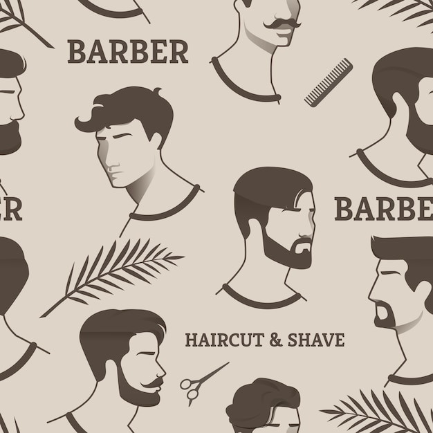 Muster friseur haarschnitt & rasur mit schere, kamm. zeichnungen junge männer, aber mit verschiedenen frisuren und frisuren, mit und ohne bart, mit schnurrbart. zeigt verschiedene epochen friseur. Premium Vektoren