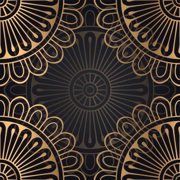 Muster-hintergrunddesign der mandala nahtloses in der schwarzen und goldenen farbe Kostenlosen Vektoren