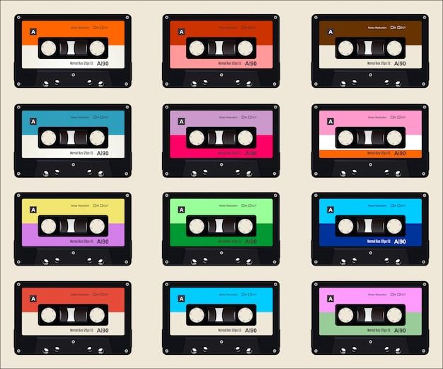 Muster mit buntem hintergrund der alten audiokassetten Premium Vektoren