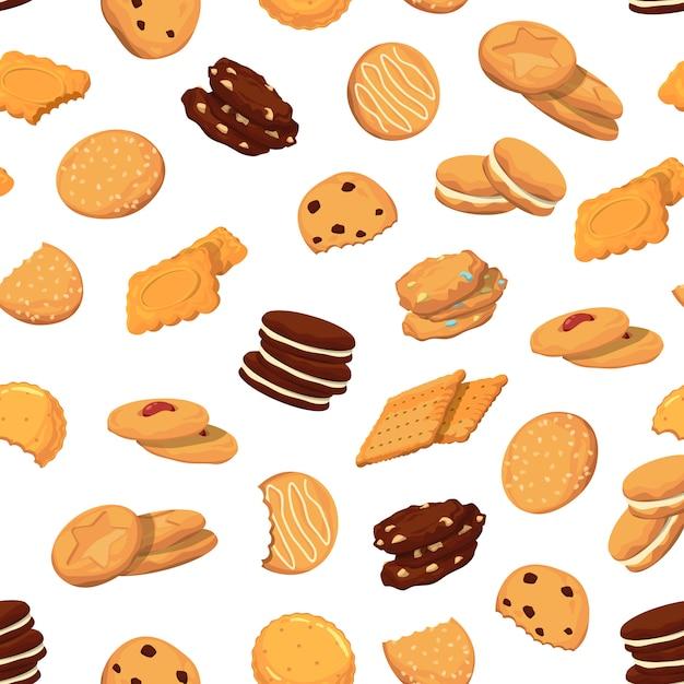 Muster mit comic-kekse Premium Vektoren