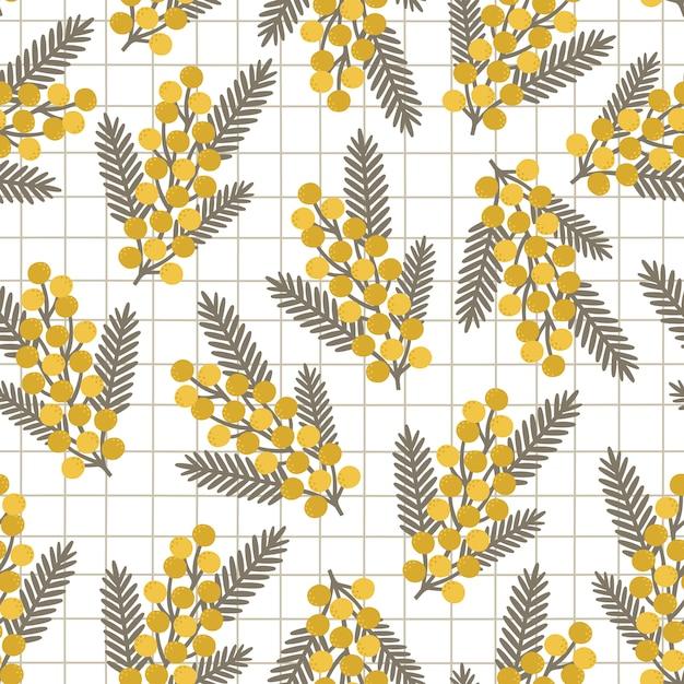 Muster mit gelben mimosenblumen und -blättern Premium Vektoren