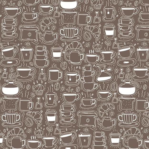 Muster mit gezeichnetem Gekritzel-Kaffee-Hintergrund der Linie Hand ...