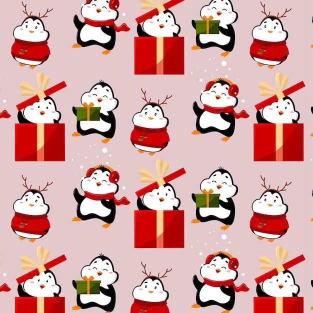 Muster mit lustigen und niedlichen pinguinen pinguine haben geschenke und lustige hüte Premium Vektoren