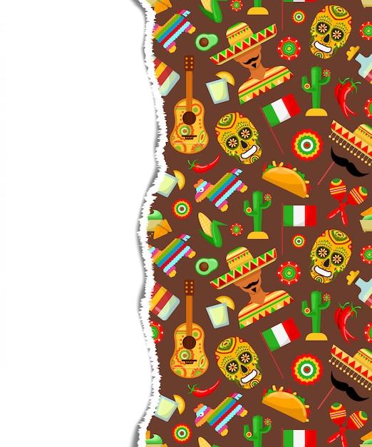 Muster mit traditionellen mexikanischen attributen Premium Vektoren