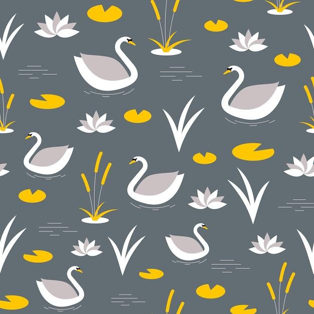 Muster mit weißem schwan und gelben blumen Premium Vektoren