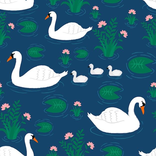 Muster mit weißem schwan und kleinen babys Kostenlosen Vektoren