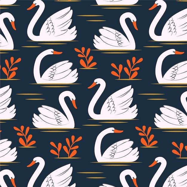 Muster mit weißem schwan und orangefarbenen blüten Kostenlosen Vektoren
