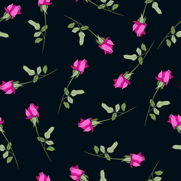 Muster nahtlose rosa rosa blüht schwarzen hintergrunddruck für textil schön für den stoff design ornament Premium Vektoren