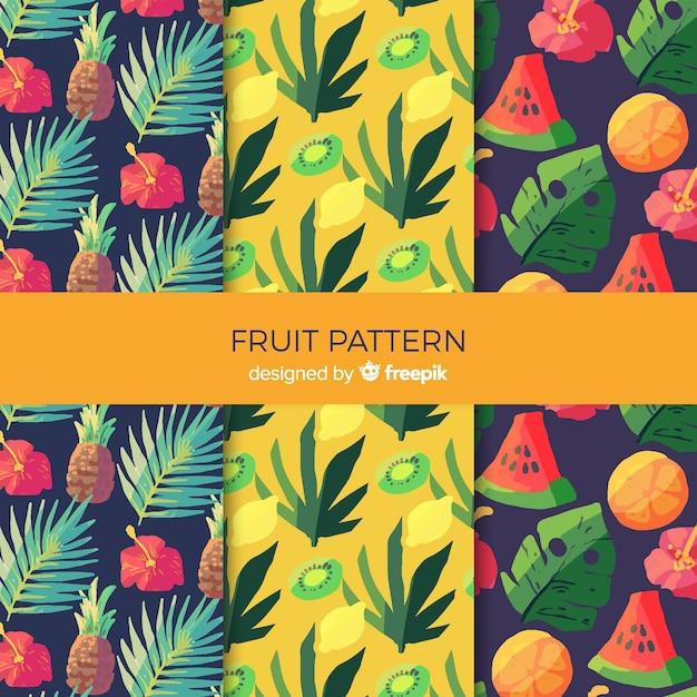 Muster-sammlung der tropischen früchte des aquarells Kostenlosen Vektoren