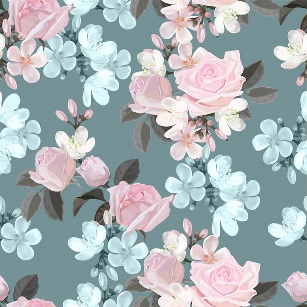 Muster-vektorillustration der rosa blume nahtlose Premium Vektoren