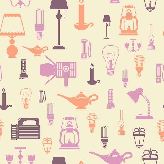 Muster-vektorillustration der taschenlampen und der glühlampen der lampen nahtlose Kostenlosen Vektoren