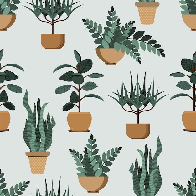 Muster von hausinnenpflanzen, topfpflanzensammlung auf grünem hintergrund. Premium Vektoren