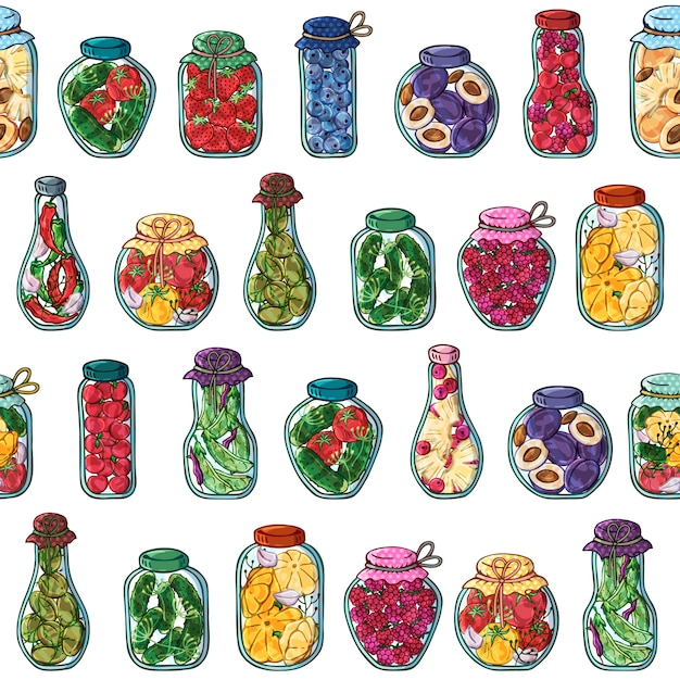 Muster von vektorgläsern eingemachtem gemüse und früchten. Premium Vektoren