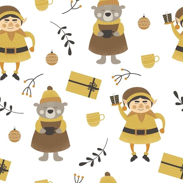 Muster weihnachten Premium Vektoren