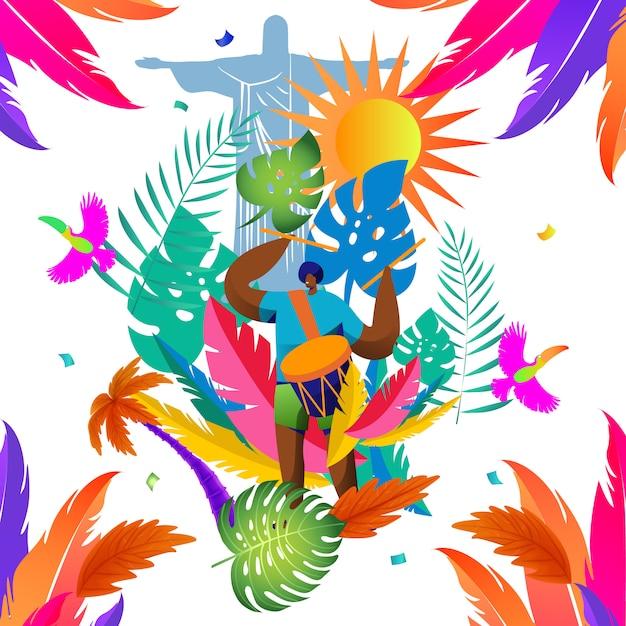 Musterdesign tropisch mit elementkarneval von brasilien Premium Vektoren