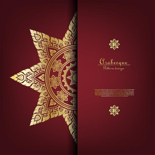 Mustergoldhintergrundkarten-schablonenvektor der arabeske thailändischer Premium Vektoren