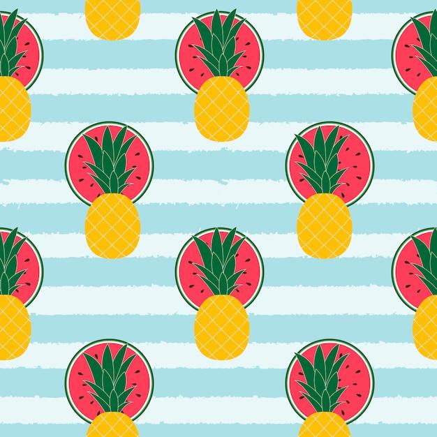 Musterhintergrund der tropischen früchte Premium Vektoren