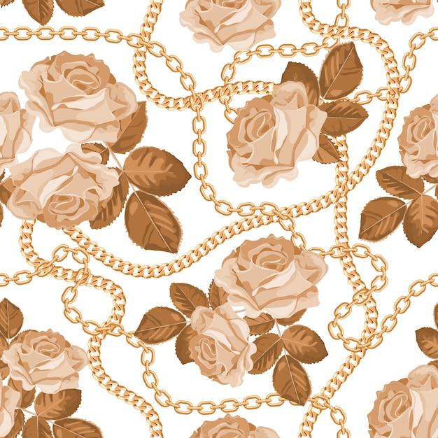 Musterhintergrund mit goldenen ketten und beige rosen Premium Vektoren
