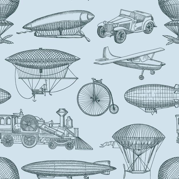 Musterillustration mit steampunk hand gezeichneten luftschiffen, fahrrädern und autos. vintage und retro Premium Vektoren