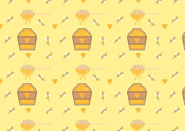 Mustervektor der honigflasche nahtloser Premium Vektoren