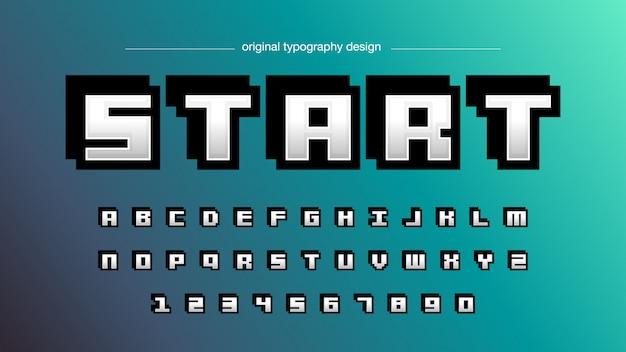 Mutiger pixel-art-typografie-entwurf Premium Vektoren