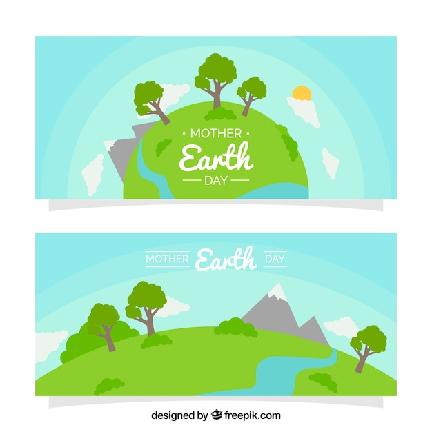 Mutter erde tag banner mit schönen landschaften Kostenlosen Vektoren