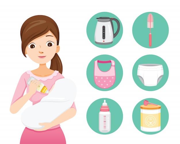 Mutter füttert baby mit milch in babyflasche. baby icons set Premium Vektoren