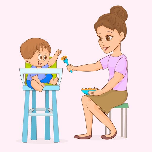 Mutter füttert ihr baby Premium Vektoren