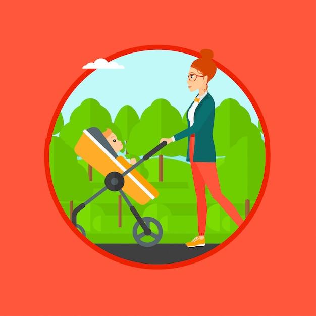 Mutter mit ihrem baby im kinderwagen spazieren. Premium Vektoren